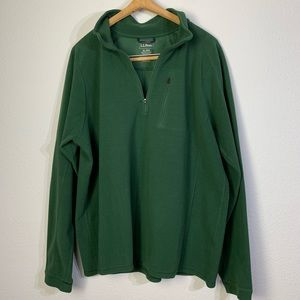 L.L.Bean Green Fleece Quarter-Zip Sweater XL